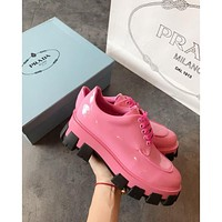 Prada Pink Monolith Patent Leather Derby Shoes