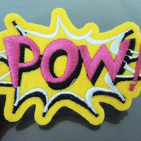 POW Letter Patches - Iron on or Sewing on Patch Letter Patches Yellow Pink Patch Embellishments Embroidery fonts
