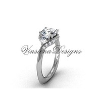 "Unique Platinum diamond wedding ring, engagement ring, ""Forever One"" Moissanite VD8225"