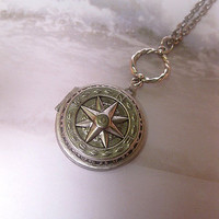 Silver Compass Locket Journey Necklace - Point To Me - Directional - Long Necklace