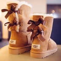 UGG:bow leather boots boots in tube Boots HIGH HIGH QUALITY I