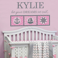 Nautical Girls Room Decal - Personalized Name Wall Decal for Baby Girl Nursery - Anchor Ship Wheel Sailboat Bedroom Decor 22Hx36W GN066