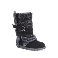 MUK LUKS Black Nevia Knit Heel Ankle Boot