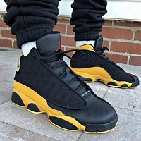 Air Jordan 13 AJ13 Fashionable Men Sport Running Basketball Shoes Sneakers Black&Yellow
