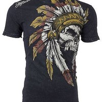 Licensed Official AFFLICTION Mens T-Shirt WINDTALKER Indian Skull BLACK Tattoo Biker UFC Jeans $50