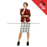 Cassie Grid Pencil Skirt- FINAL SALE