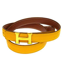 Authentic HERMES Constance H Buckle Belt Leather Gold-tone Yellow Brown 66B1553