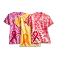 Tie-Dyed Awareness Ribbon T Shirt Relay For Life