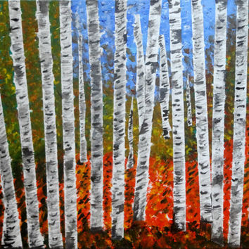New year gift sale Original acrylic Autumn aspen birch tree forest Contemporary art Fall colors Canvas painting Living room wall decor