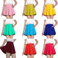 New Candy Color Women's Casual Sexy A-line Flared Mini Skirts Circle Short Skirt