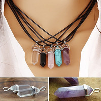 Hot Sale Faux Gemstone Rock Natural Quartz Healing Point Chakra Reiki Pendant Rope Necklace (With Thanksgiving&Christmas Gift Box)= 1945726340