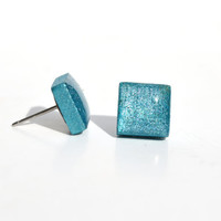 Blue Topaz metallic studs square post earrings wood earrings minimalist jewelry eco fashion eco friendly unique gift for her