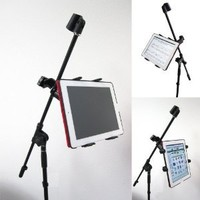 ChargerCity Music Mic Microphone Stand Tablet Mount with 360° Swivel Adjust Holder for Apple iPad Pro Air Mini Google Nexus Samsung Galaxy Tab 7 8 10 12 Surface Pro/Book (iPad & Stand is not included)