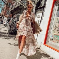 Boho Chic High-Low Hem Midi Dress Gypsy Floral Print Dresses Flounce Sleeve Hollow Back Sexy Dress Women Dresses