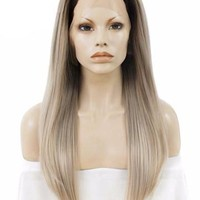 Dark Root To Light Ash Blonde Ombre Straight Long Synthetic Lace Front Wig