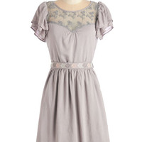 Boho Mid-length Short Sleeves Fit & Flare Indie Darling Dress in Taupe