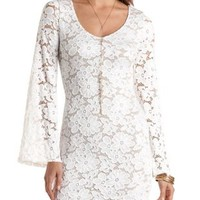 Bell Sleeve Bodycon Lace Dress by Charlotte Russe - Ivory