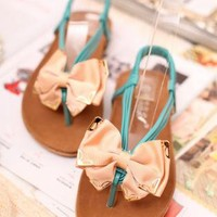 Bow Front Flat Sandals for Women 060518