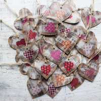 Boho wedding favors rustic heart ornaments polka dot cottage chic guest favors shabby chic bridal shower pink red