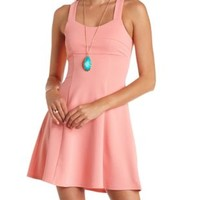 Textured Racerback Skater Dress by Charlotte Russe - Coral