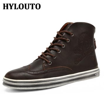 Autumn Winter New Arrival Men Fashion Genuine Leather Boots Vintage Solid Color Skull Prints Lace up Flat  Walking Zapatos 51833