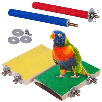 Petsvv 4 PCS Bird Perch Stand Toy, Wood Parrot Perch Stand Platform Paw Grinding Stick, Cage Accessories Exercise Toys Budgies Parakeet Cockatiel Conure Hamster Gerbil Rat Mouse Yellow & Green