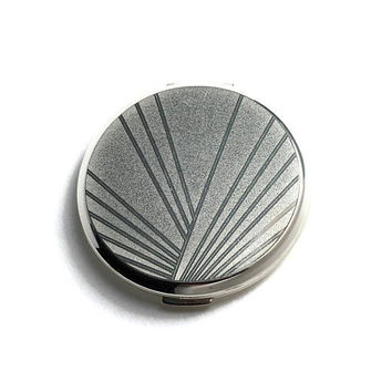 Unused 1970's Art Deco Style Powder Compact | NOS | Pressed Powder Compact | Silver Tone Metal | Vintage Face Powder Compact