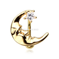 Golden Crescent Moon Shine Reverse Belly Button Ring (Clear)