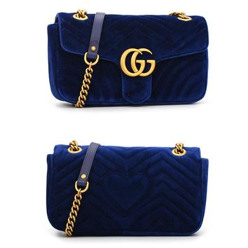 N-MYJSY-BBGucci popular women's one-shoulder bag is purple with fashionable corrugated velvet shopping bags Sapphire Blue