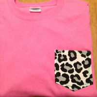 Medium Bubble Gum Pink t with Black and White Cheetah Frocket