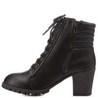Black Block Heel Quilted Lace-Up Booties by Charlotte Russe