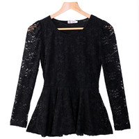 Black Sheer Mesh Lace Embroidered Flounced Hem Top
