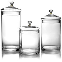 Glass Canisters w/Gold Knobs, Set of 3, Kitchen Canisters, Canning & Spice Jars