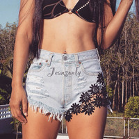 Levi High waisted denim shorts with black lace Kawaii Pastel goth Indie clothing Grunge Hipster Tumblr by Jeansonly
