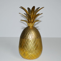 Vintage Brass Pineapple Hollywood Regency Brass Pineapple Ice Bucket Candle Holder Mid Century Barware