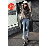 Solid Color Middle Waist Bell-bottomed 9/10 Jeans