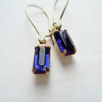 Vintage Earrings Glass Dangles Montana Sapphire Accessories Gift Idea For Her Under 15 minimalist Wedding Bridesmaids