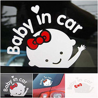 1 Pc Distinguished Popular Baby In Car Sticker Auto Decals Truck Vinyl Cute on Board Girl Style Color White
