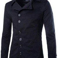 jeansian Men's Fashion Classical Multi-Buttons Solid Jacket Coat Outwear Tops 9340