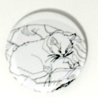 Adorable Sleeping Kitty Pen And Ink Drawing Collectable Pin On Button, Cute Napping Cat Micron Illustration Button, Precious Sleepy Kitten
