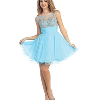 Sky Blue Chiffon & Tulle Cap Sleeve Dress Prom 2015