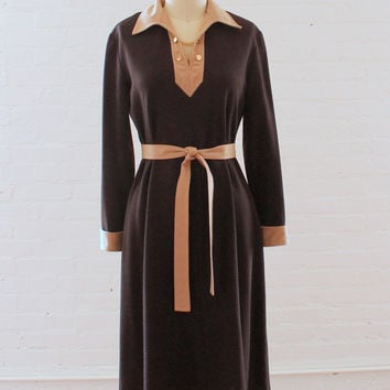 Vintage 1960s Gold Chain Wool Jersey Day Dress