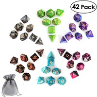 PBPBOX 42pcs Polyhedral Dice for Dungeons and Dragon Board Game Dice (6 sets * 7 dices)