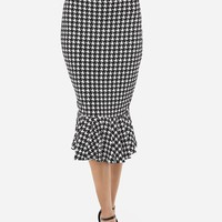 Casual Houndstooth Ruffled Hem Graceful Midi-skirt