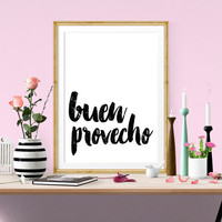 Buen Provecho quote,Spanish art,Kitchen typography,Home decor,Wall decor,Word art,Black and white,Typography art,Instant download
