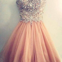 Spaghetti straps Homecoming Dresses, Crystal Chiffon Homecoming Dresses,Homecoming Dress