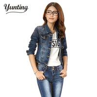 2018 Spring Women Denim Jacket  Long Sleeve Turn-down Collar Short Jeans Jacket Woman Denim Coat