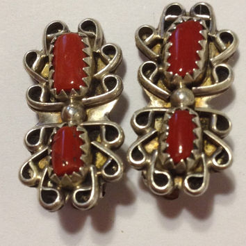 Ella Cowboy Red Coral Sterling Earrings Navajo Clip-On ClipOn 925 Silver Vintage Tribal Southwestern Jewelry Christmas Gift
