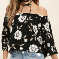 Women Strapless Printed T-Shirt