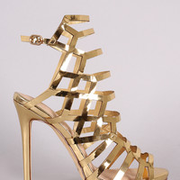 Liliana Laser Cutout Peep Toe Stiletto Heel